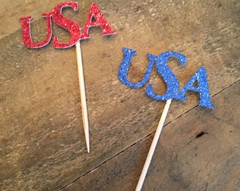 4th of July  USA cupcake toppers