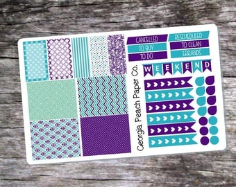 Blue and Purple Themed Planner Stickers - Made to fit Vertical Layout