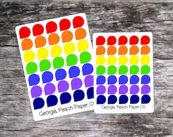 Teardrop Planner Stickers in Bold Rainbow Colors- Made to fit Vertical Layout