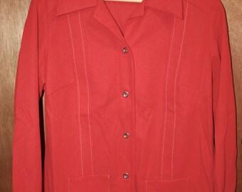 NOS Vintage 70s FLUTTERBYE Womens Button Up Top Jacket Orange Red Size 18 1/2 M L Encron Polyester