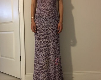Vintage 90s Leopard Print Long Dress