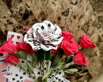 Playing Card Flower, Paper Flower, Casino Theme, Poker Flower, Gambler Gift, Vegas Wedding, Handcrafted Premium Crepe Paper Leaves
