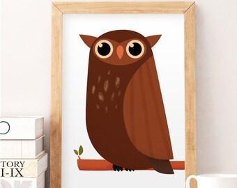 Owl Print, Cute owl, Owl wall art, Animal print, Owl wall art, Cute, Nursery Animal art, Baby boy Nursery, Animal Print, Kids prints