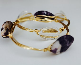Gold Bangle with Dog Tooth Amethyst  - Women's Jewelry - February Birthstone - Bracelet
