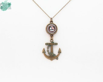Anchor charm necklace with boat cabochon, antique bronze and glass, pendant, nautical, sailing, ship
