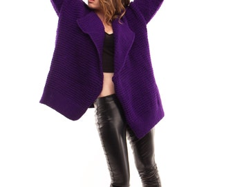 Women's Purple Knit Coat. Spring/Fall 60/40 wool/acrylic