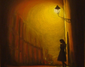 "City Lights Girl Pastel Painting Original Impressionist Art Night Cityscape with Lonely Girl 12""x16""  30x40 cm"