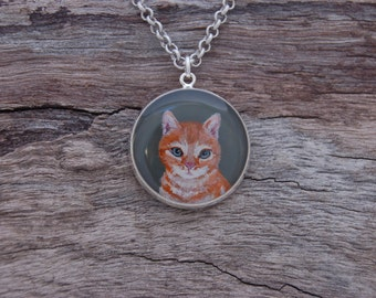 RESERVED FOR QUARTZ - Hand Painted Orange Tabby Cat Pendant
