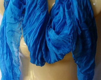 Blue non infinity scarf, summer and spring lightweight voile scarf in blue