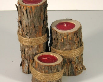 Rustic Hop Hornbeam Tree Tea Light holder with Jute Wrap