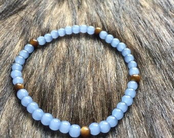 Bracelet - Tigers Eye Stone and Baby Blue Glass Beaded Bracelet, Stretch, Healing, Reiki, Natural Stone, Meditation, Grounding