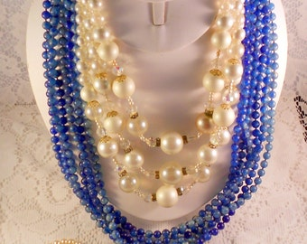 Lot of 3 Vintage Necklaces to Wear, Resell, Repurpose, Restash, Upcycle - Faux Pearls, Lucite Beads - 1950-1960's FREE SHIPPING