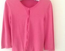 Pink cotton crew neck cardigan, ladies jumper, vintage top, fushia pink