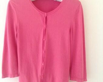 Women's cardigan, Pink cardigan, ladies jumper, vintage top, fushia pink, summer top, 90's clothing, wedding, vintage sweater, pink top