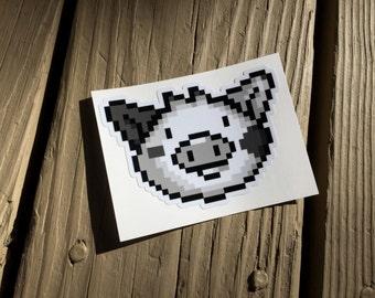 "Cute Little Pig ""Retro DMG Pixel Art"" Piggy Vinyl Die Cut Art Decal Indoor/Outdoor Sukoshi Buta Mini Pig Pigxel Art"