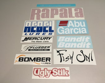 Fishing decals, fishing stickers set of 10 decals,fishing Vinyl Decals, tackle box Stickers, rebel abu garcia bomber ugly stik fishing rods