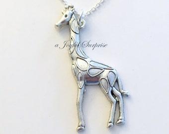 Silver Giraffe Necklace, Giraffee Jewelry Charm, Gift for Safari African Animal Silver Boy Man present Large Long Chain pewter pendant girl
