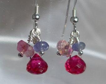Pink Quartz Earrings, Pink Earrings, Rubelite Earrings, Corundum Earrings, Dangling Earrings, Cluster Earrings