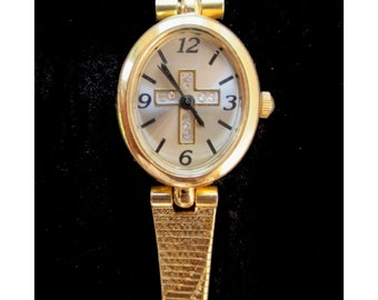 Ladies Watch With RHINESTONE CROSS * Gold Tone