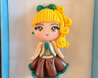 Polymer clay Doll pendant