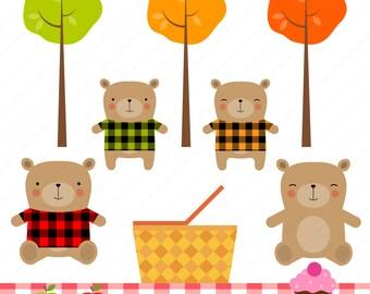 Teddy Bear Clipart / Teddy Bear Picnic Clipart / Picnic Clipart