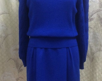Royal Blue 1980s Wool Knit Dress/Ciao LTD/Made in Honk Kong