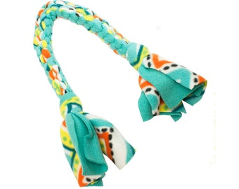 Fleece Tug Toy for Dogs in Teal / Yellow / Orange