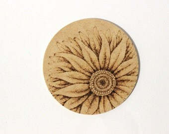 Wood burned sunflower coasters (4-pack)