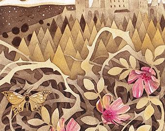 Enchanted Castle Fairytale Fairy Tale Sepia Fantasy Art Print of Original Watercolor Illustration Children Kids Nursery Art