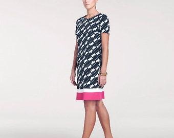 Bridgette Printed Silk Dress // Short Sleeve Dress // Knee Length Dress