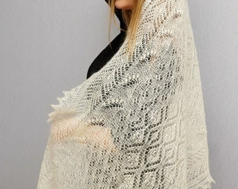 White lace wedding ring stole | Russian lace tippet
