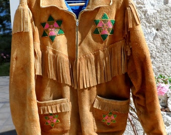 SALE - RARE Antique Native American brain tanned moose hide jacket with beadwork 1930s