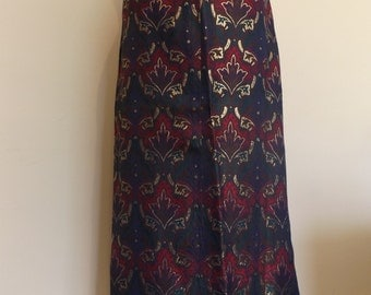 vintage 70s multicoloured gold lame maxi skirt 10 8 small