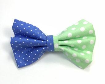 Blue Polka Dotted Hair Bow, Mint Green Polka Dotted Hair Bow, Mint Green Hair Bow, Blue Hair Bow, Multi-fabric Hair Bow, Spring Hair Bow
