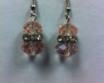 Pink Glass Beads with Clear Rondelles