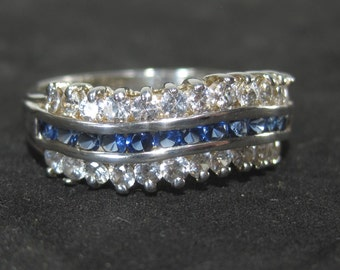 Vintage Diamond and Sapphire Sterling Silver Channel Set Ring Size 8