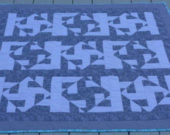 Modern,Monochromatic Gray Quilt with Turquoise Binding