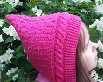 Handmade knitted hat. Baby Pixie Hat. Toddler hat.  Elf hat. Pink hat.  Pixie Bonnet. Toddler Hat. Merino & Cashmere Wool hat.