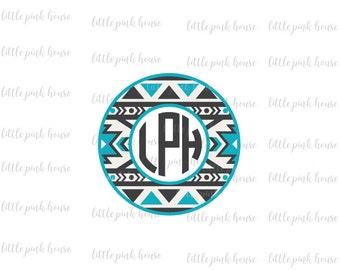 Aztec Monogram SVG, Tribal Monogram SVG, Monogram SVG, Circle Monogram, Monogram Frame, Circle Monogram svg, dxf, silhouette studio, cricut