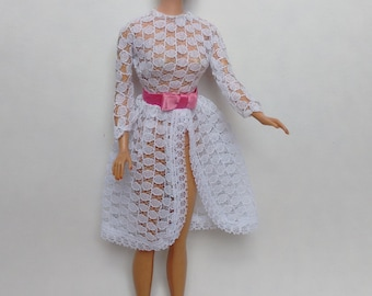Vintage Barbie Clothes, 1960s Barbie Garden Wedding (white lace overdress) #1658 Mattel