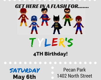 Custom Superhero Birthday Invitation - 5x7 Superhero Birthday Invitation - Calling All Superheros Birthday Invitation