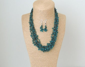 necklace, green necklace, seed beads necklace, knitted necklace, crochet necklace