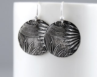 Zentangle Silver Earrings - Zendoodle Silver Jewelry - Sterling Silver Doodle Art Earrings - Modern Funky Jewelry - Bohemian Earrings