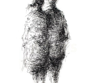 Original Ink Drawing, WHAT WE KNOW, pen and ink art, original art, black and white art