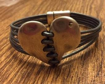 Heart Strings Leather Bracelet