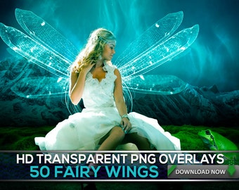 50 TRANSPARENT PNG Fairy & Angel Wing Overlays, Transparent PNG Angel Fairy Wings Photoshop Overlays, Digital Background, Digital Backdrop