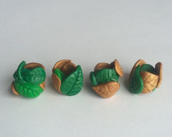 Green and Gold Leaves Polymer Clay Dreadlock Bead
