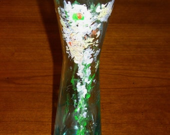 Vase Hand Painted Vase Glass Vase Hand Painted Glass Vase