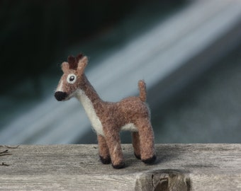 Deer Needle Felted Christmas Ornament. Made to Order.