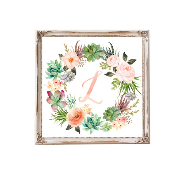 Monogram Nursery Art Nursery Wall Art Baby Gift Girl Floral Wreath Letter Name Art Nursery Decor Initial Custom Blush Peach Coral Succulent
